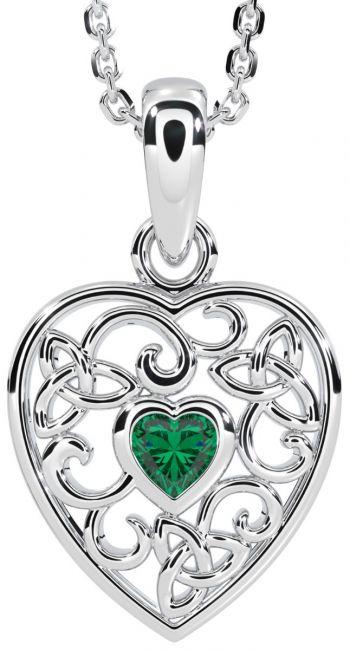Emerald Silver Celtic Knot Heart Pendant Necklace