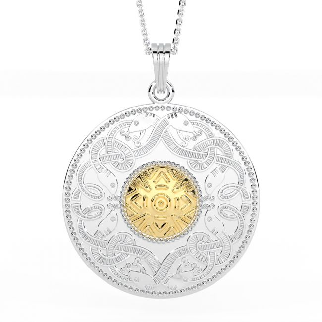 Celtic Warrior Large 14K Two Tone Gold Solid Silver Pendant Necklace