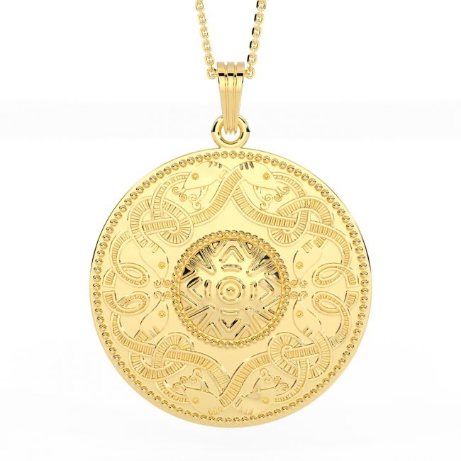 Celtic Warrior 14K Yellow Gold Solid Silver Pendant Necklace - Large