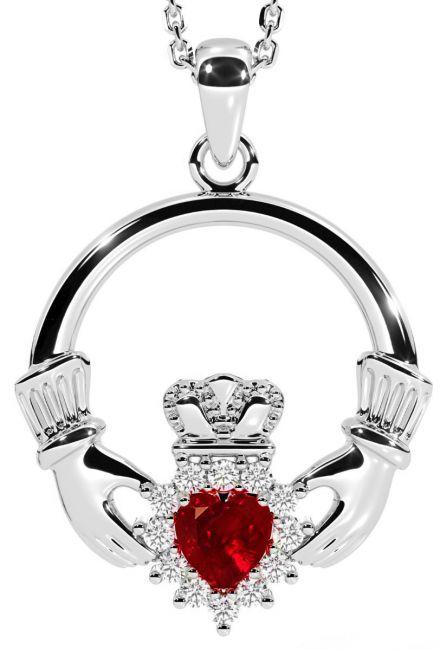 Ruby Diamond Silver Claddagh Pendant Necklace - July Birthstone