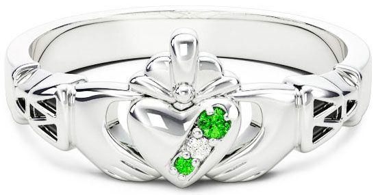 Ladies Emerald Diamond Silver Claddagh Ring