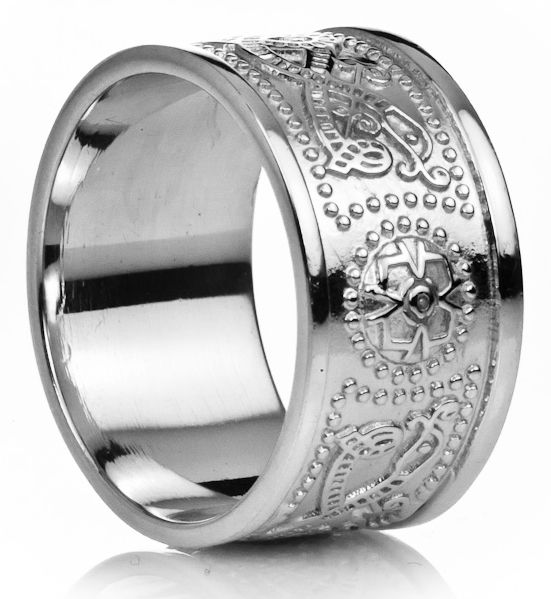 12mm Extra Wide Mens Silver Celtic