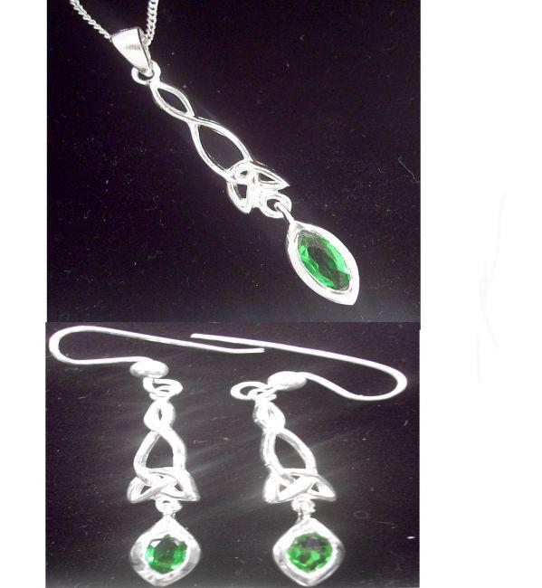 Silver Emerald Celtic Earrings & Pendant Set