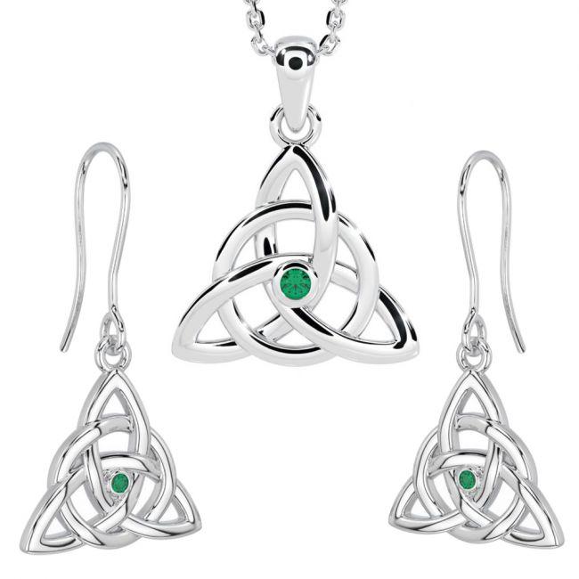 14K White Gold Silver Genuine Emerald Irish