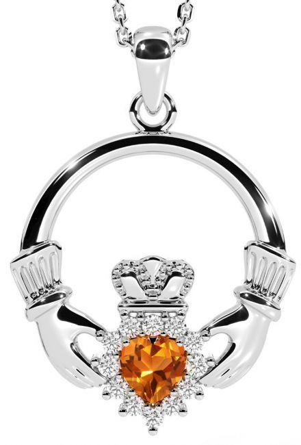 Citrine Diamond Silver Claddagh Pendant Necklace - November Birthstone
