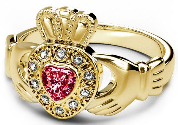 10K/14K/18K Yellow Gold Diamond and Ruby Celtic Claddagh Ring