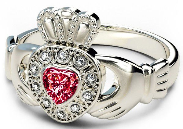 10K/14K18K White Gold Genuine Diamond .13cts Genuine Ruby .25cts Claddagh Engagement Ring