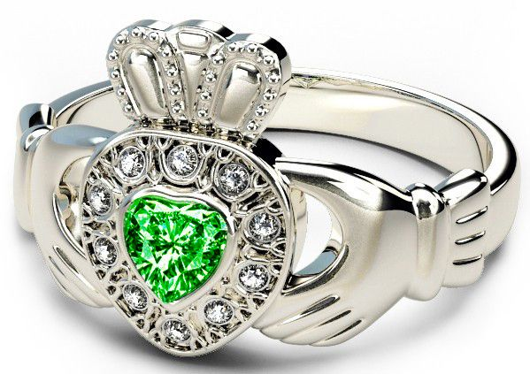 10K/14K/18K White Gold Genuine Diamond .13cts Genuine Emerald .25cts Claddagh Engagement Ring