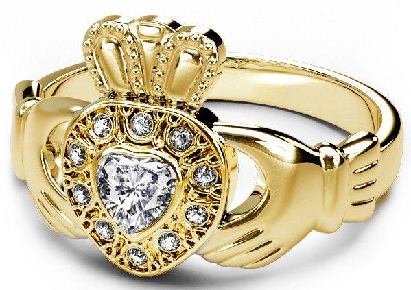 10K/14K/18K Yellow Gold Diamond Celtic Claddagh Ring