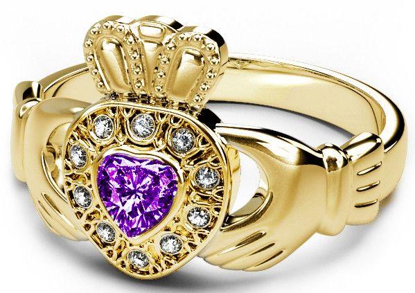 10K/14K/18K Gold Genuine Diamond .13cts Genuine Amethyst .25cts Claddagh Engagement Ring - February Birthstone