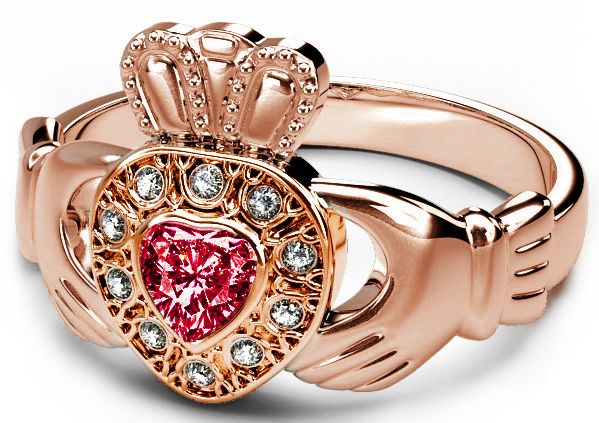 10K/14K/18K Rose Gold Genuine Diamond .13cts and Genuine Ruby .25cts Celtic Claddagh Ring - May Birthstone