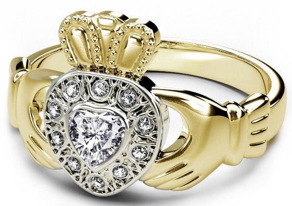 Yellow & White Gold Genuine Diamond .38cts Claddagh Ring - April Birthstone