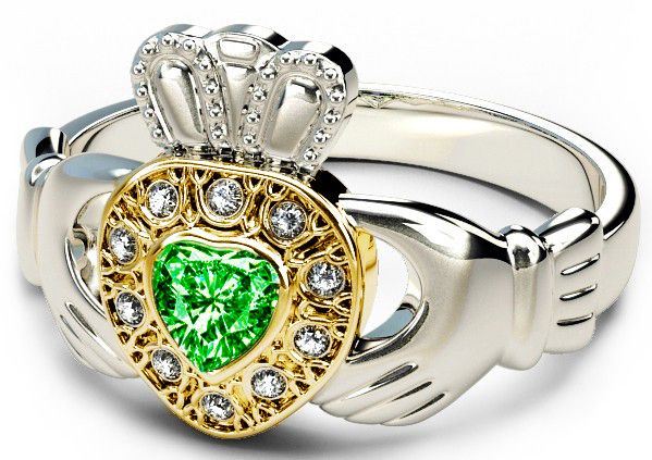 10K/14K/18K Two Tone White and Yellow Gold Genuine Diamond .13cts and Genuine Emerald .25cts Celtic Claddagh Ring
