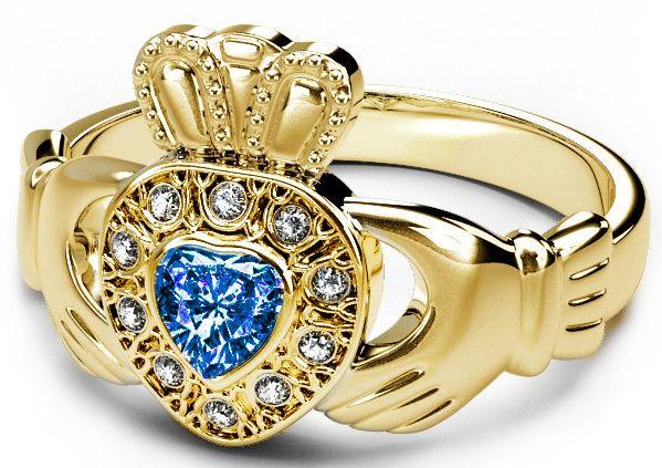10K/14K/18K Yellow Gold Diamond and Sapphire Celtic Claddagh Ring