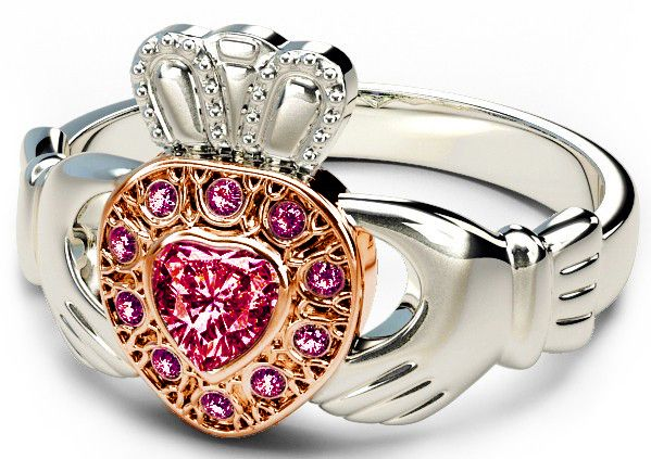 10K/14K/18K Two Tone White and Rose Gold Genuine Ruby .38cts Claddagh Ring
