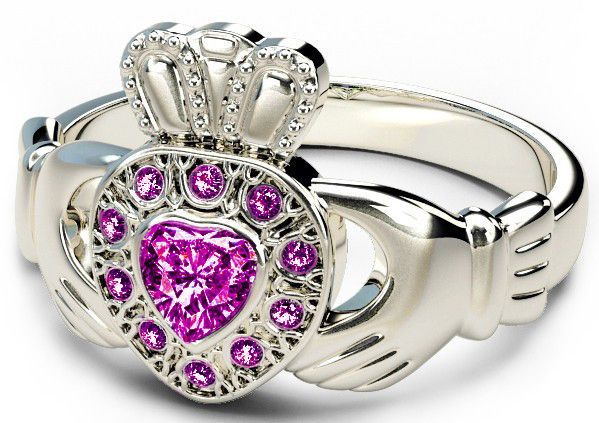 10K/14K/18K White Gold Genuine Pink Sapphire .38cts Claddagh Ring