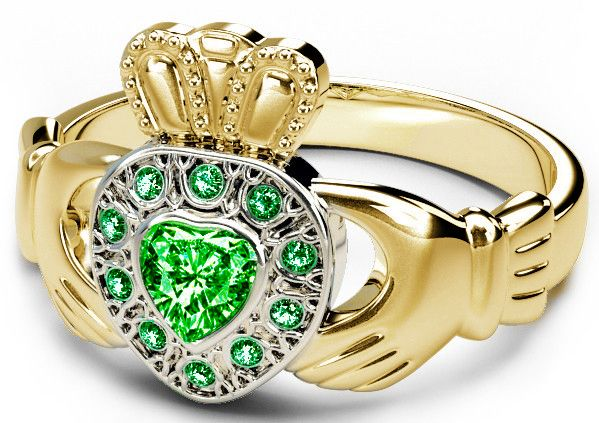 10K/14K/18K Two Tone Yellow and White Gold Genuine Emerald .38cts Claddagh Ring