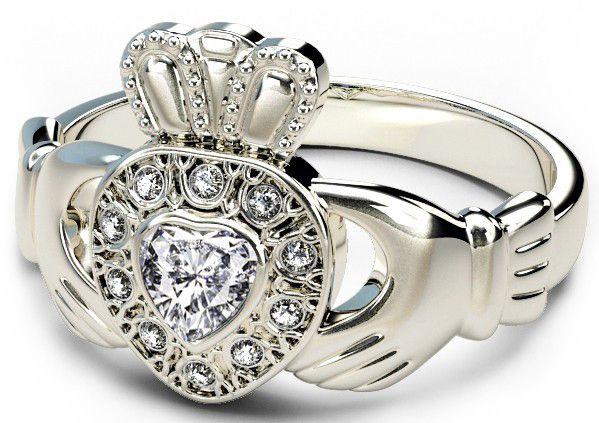 10K/14K/18K White Gold Genuine Diamond .13cts Claddagh Engagement Ring - April Birthstone