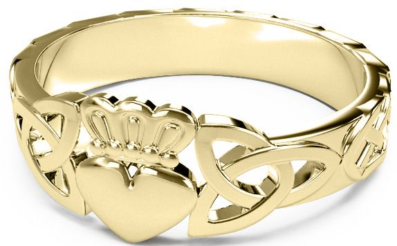 Ladies 14K Gold coated Silver Claddagh Celtic Trinity Knot Ring