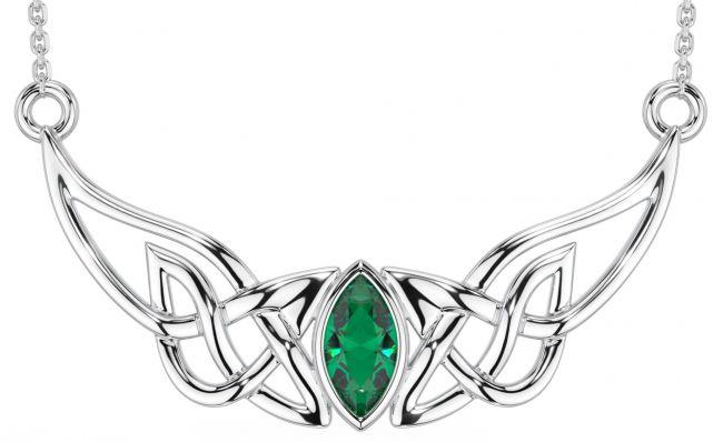 Silver Emerald Celtic Necklace