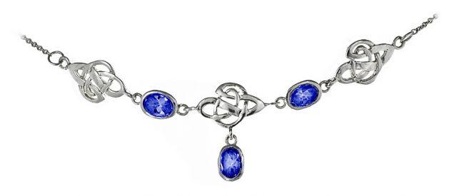 Silver Sapphire Celtic Necklace