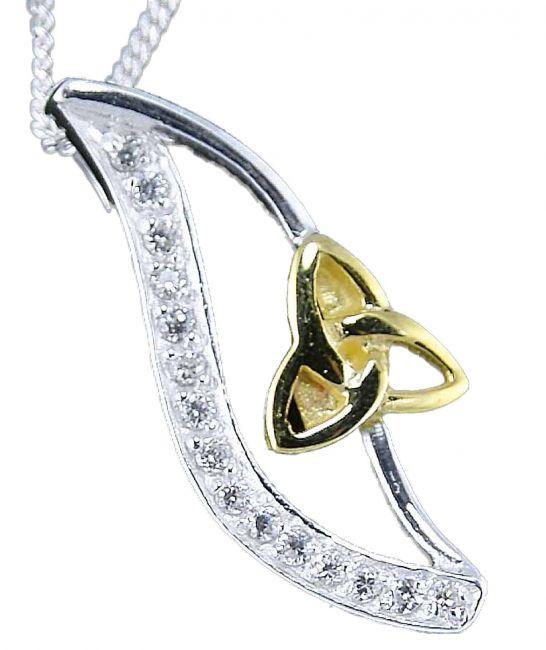 14K Two Tone Gold Solid Silver Diamond Celtic Pendant