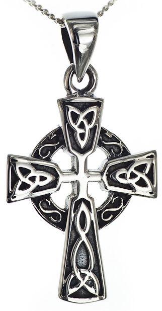 Silver Celtic Cross Knot Pendant Necklace