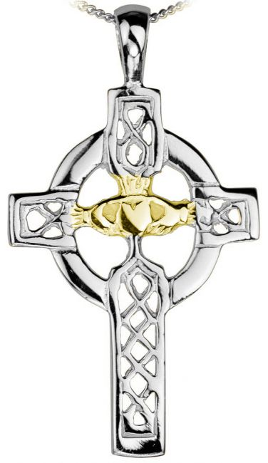 14K White Gold Silver Celtic Cross Pendant