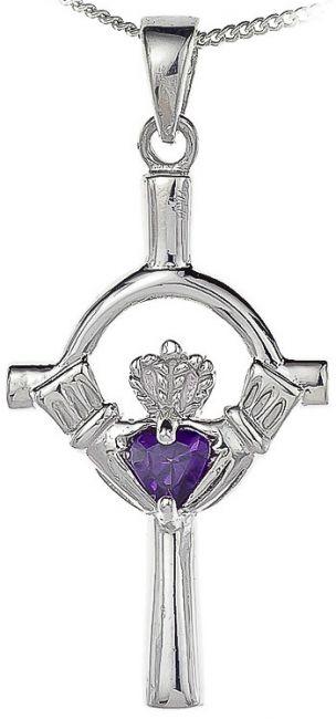 Amethyst Silver Claddagh Cross Pendant Necklace