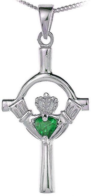 Emerald Silver Claddagh Cross Pendant Necklace
