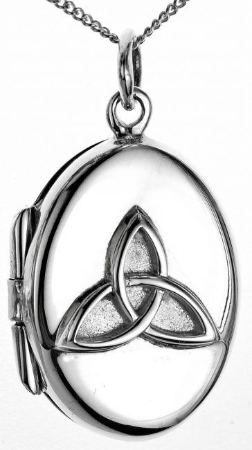 Silver Celtic Knot Locket Pendant Necklace