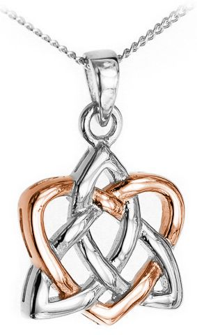 14K Two Tone White & Rose Gold Silver Celtic Knot Heart Sister Pendant Necklace