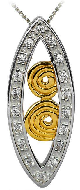 Diamond 14K Gold Silver Celtic Spiral Pendant Necklace