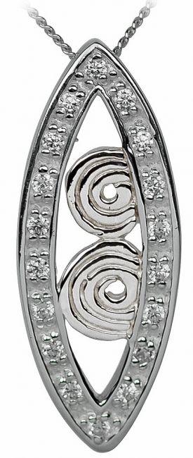Diamond Silver Celtic Spiral Pendant Necklace