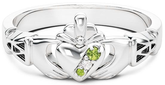10K/14K/18K White Gold Genuine Peridot.035cts Genuine Diamond .1cts Claddagh Celtic Knot Ring - August Birthstone