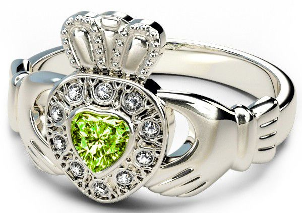 10K/14K/18K White Gold Genuine Diamond .13cts Peridot .25cts Claddagh Engagement Ring - August Birthstone
