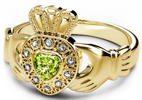 10K/14K/18K Gold Genuine Diamond .13cts Peridot .25cts Claddagh Engagement Ring - August Birthstone