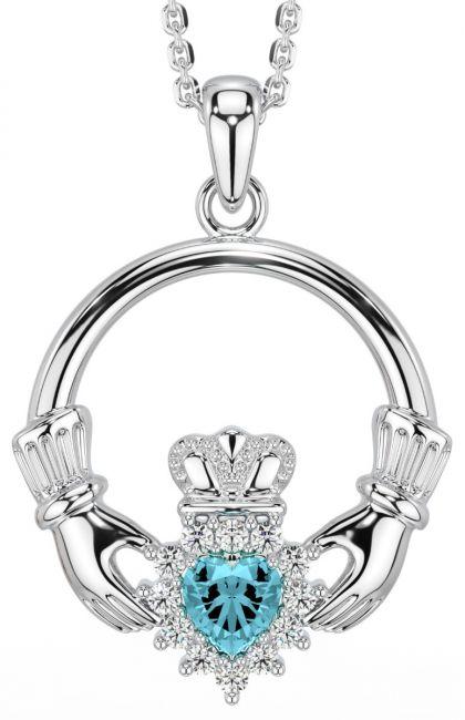 Aquamarine Diamond Silver Claddagh Pendant Necklace - March Birthstone