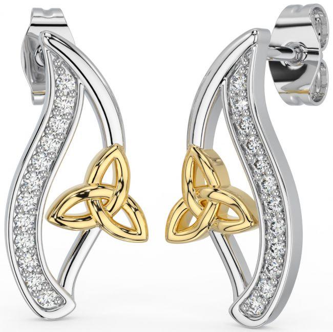 14K Gold Silver Diamond Irish