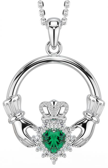 Emerald Silver Claddagh Pendant Necklace -May Birthstone