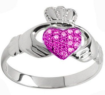 10K/14K/18K White Gold Genuine Pink Sapphire .07cts Claddagh Ring