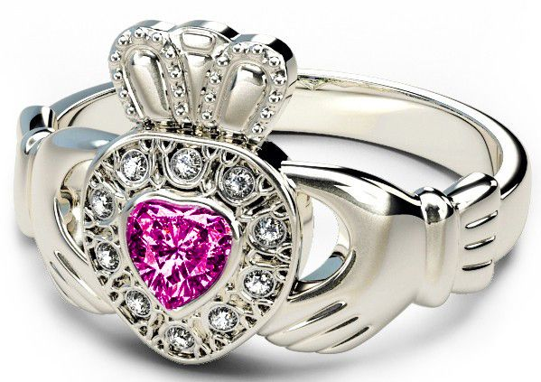 10K/14K/18K White Gold Genuine Diamond .13cts Genuine Pink Sapphire .25cts Claddagh Engagement Ring - September Birthstone