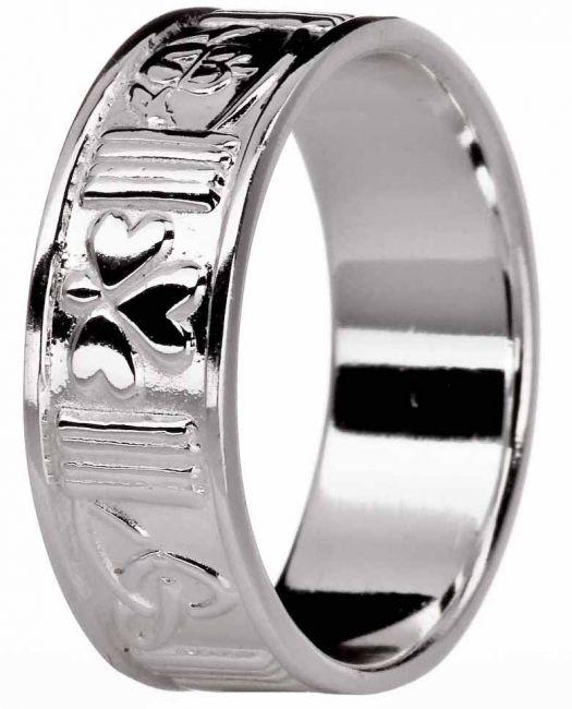 Silver Symbols of Ireland Celtic Ring Unisex Ladies Mens