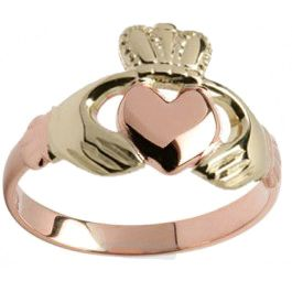 Ladies 10K/14K/18K two tone Rose Gold & Yellow Gold Hands and Crown Claddagh Ring