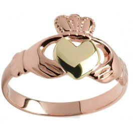 Rose with yellow gold heart Claddagh ring