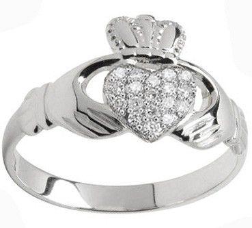 10K/14K/18K White Gold Genuine Diamond .07cts Claddagh Ring