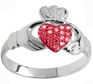 10K/14K/18K White Gold Genuine Ruby .07cts Claddagh Ring - July Birthstone