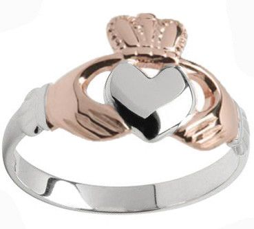 White with rose gold hands and crown Claddagh ring
