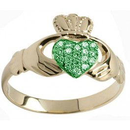 10K/14K/18K Gold Genuine Emerald .07cts Claddagh Ring - May Birthstone
