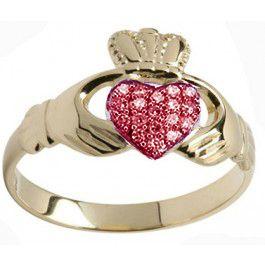 10K/14K/18K Gold Genuine Ruby .07cts Claddagh Ring - July Birthstone